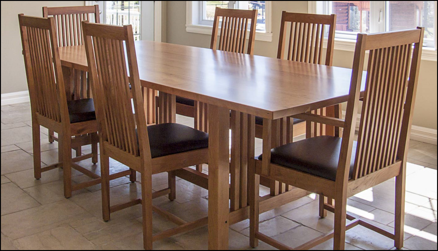 Mission dining table set choice image round dining room for Styling dining room table