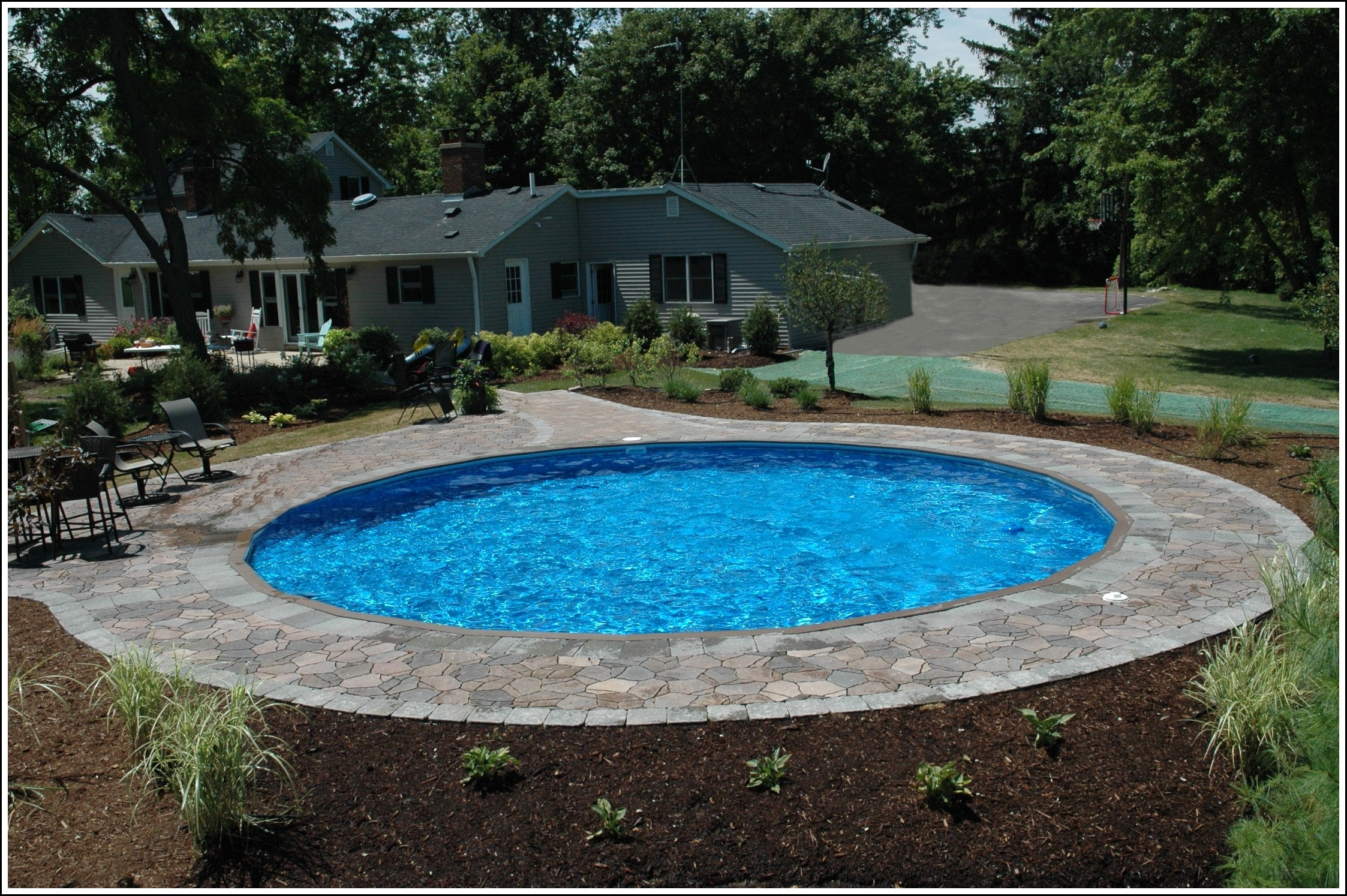 Above ground pool half buried for Half in ground pool ideas