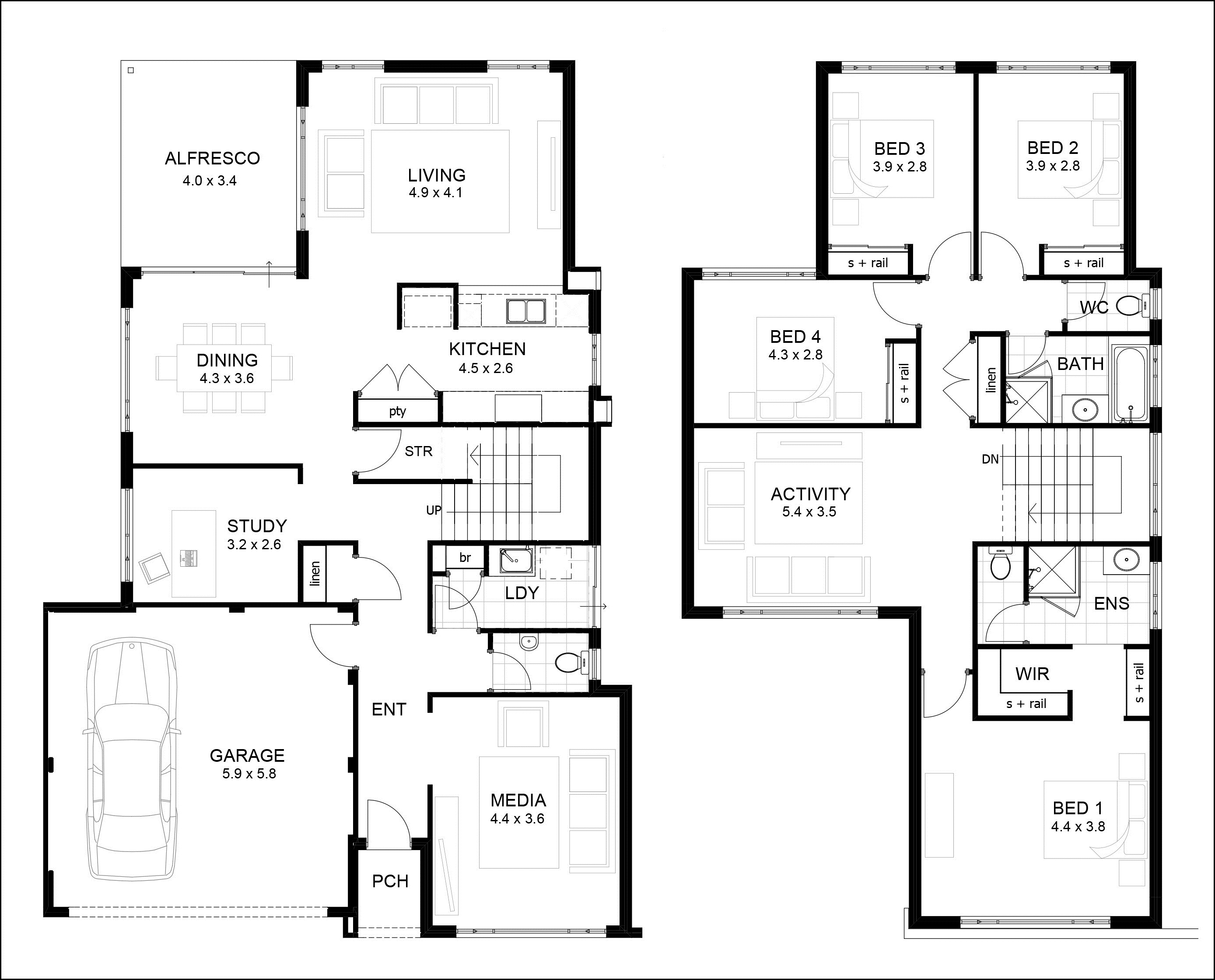 Contemporary two story residence floor plans contemporary for Smart home design plans