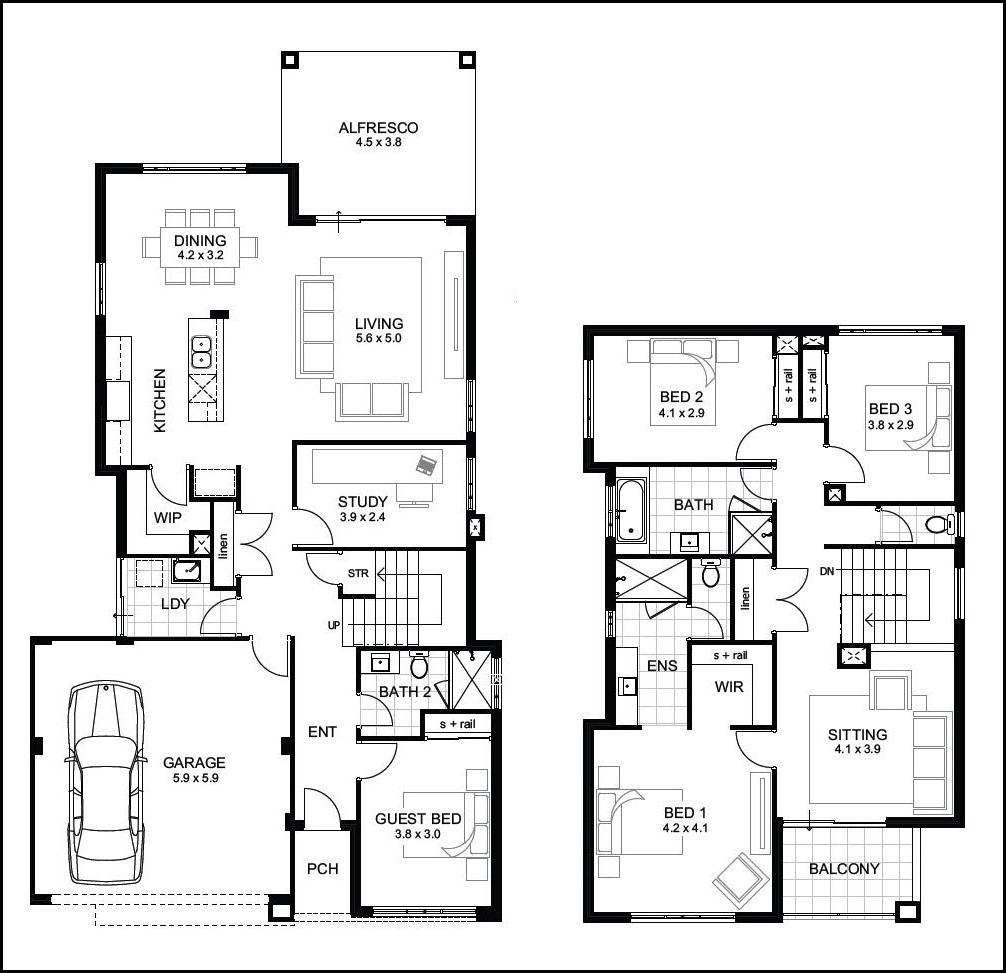 Contemporary two Story Residence Floor Plans Contemporary Medium – Two Storey Residential House Floor Plan