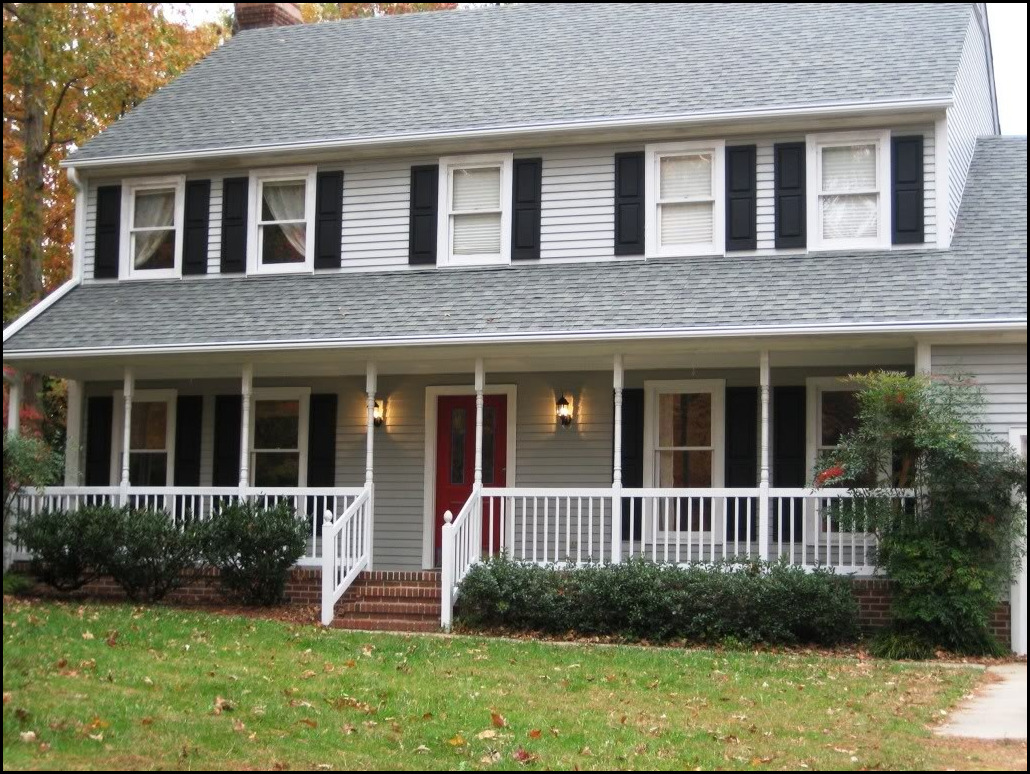 White House Black Shutters Red Door Architectural Designs