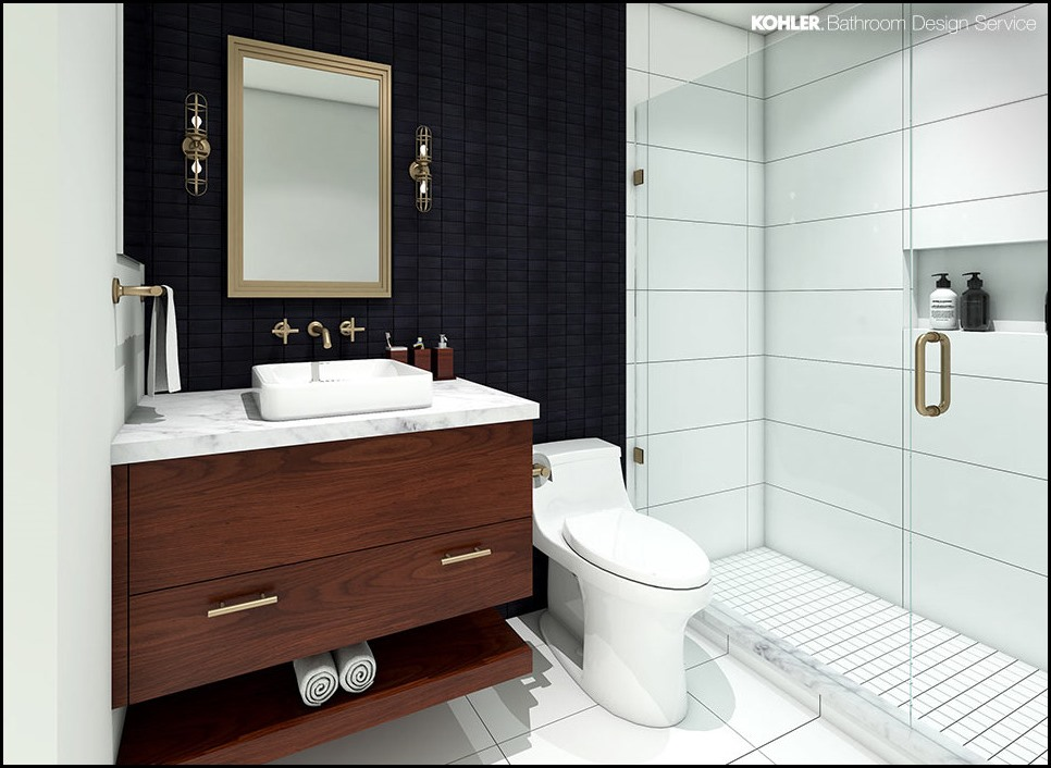 A New England dwelling 's powder room retained its classic nook sink however bought a brand new look with Robert Crowder & Co. marbleized wallpaper and a ...