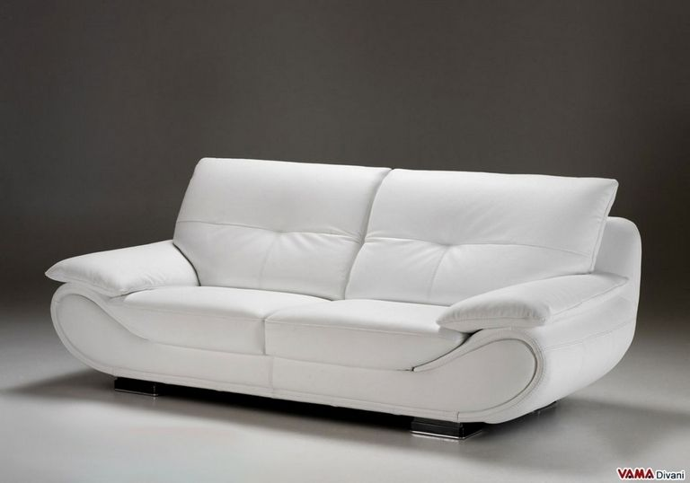 Contemporary White Leather Sofa