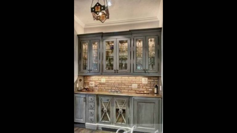 Distressed Gray Cabinets