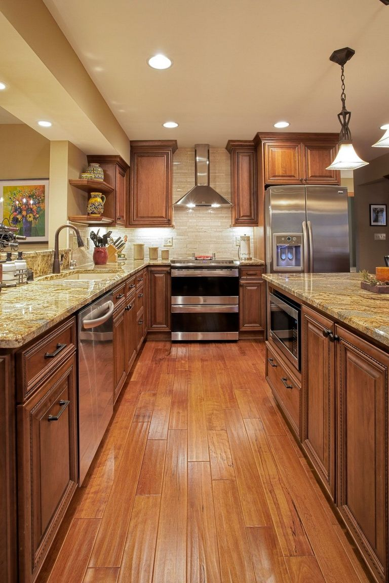 Medium Brown Kitchen Cabinets