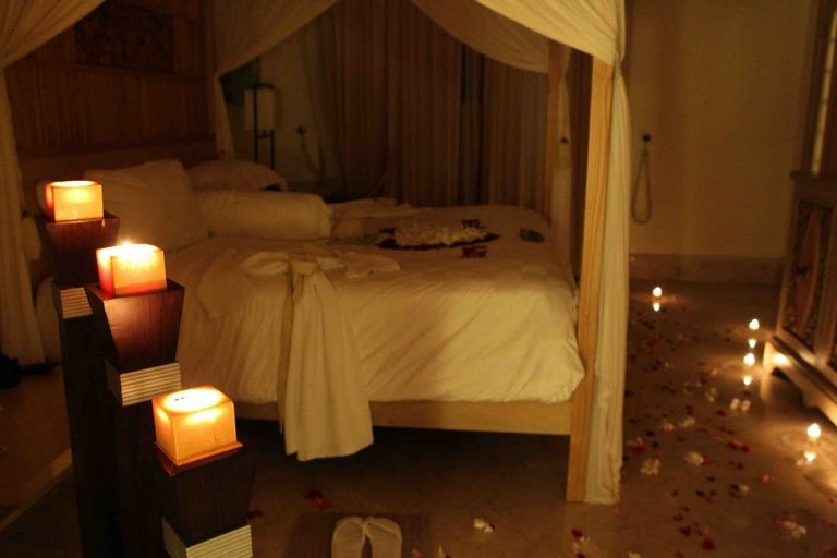 Romantic Candles In Bedroom