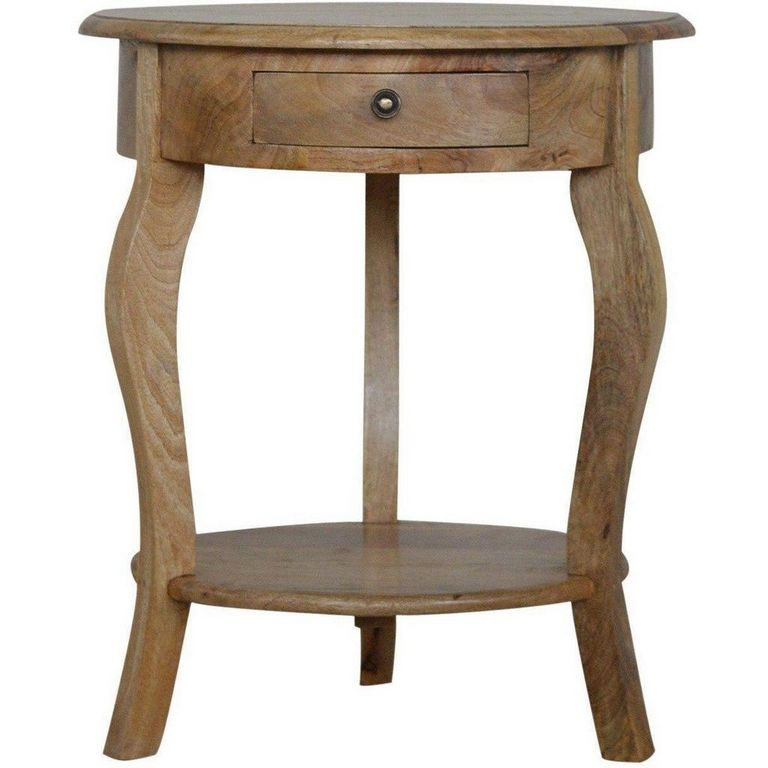 Round Side Table With Drawer