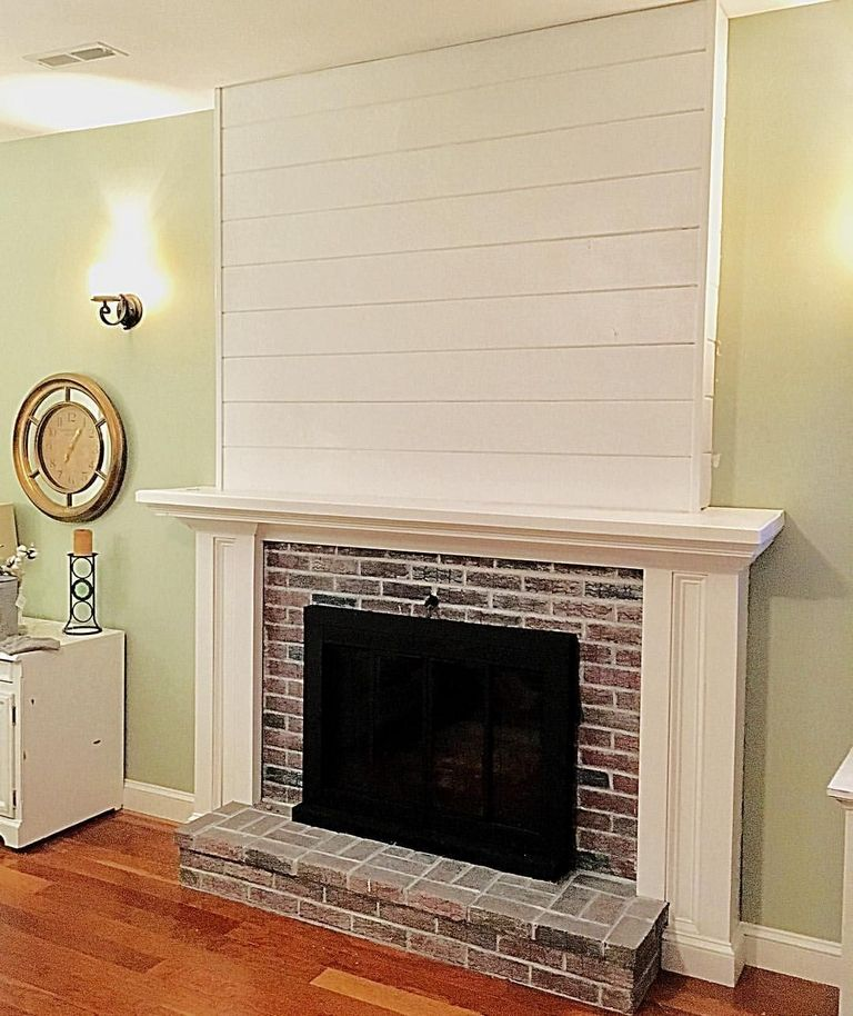 Shiplap Over Brick Fireplace