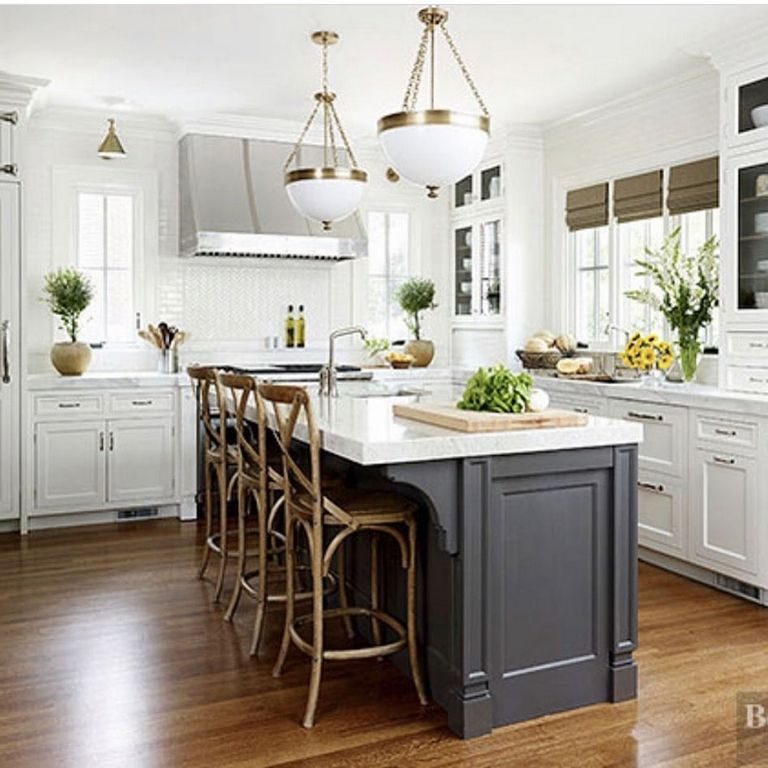 White Kitchens With Dark Island