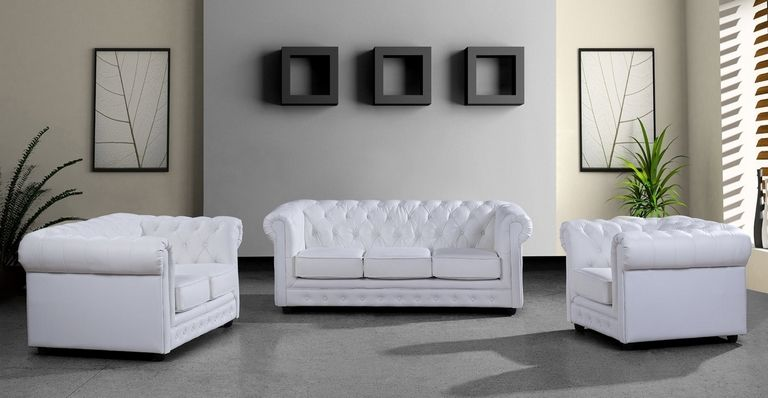 White Leather Modern Sofas