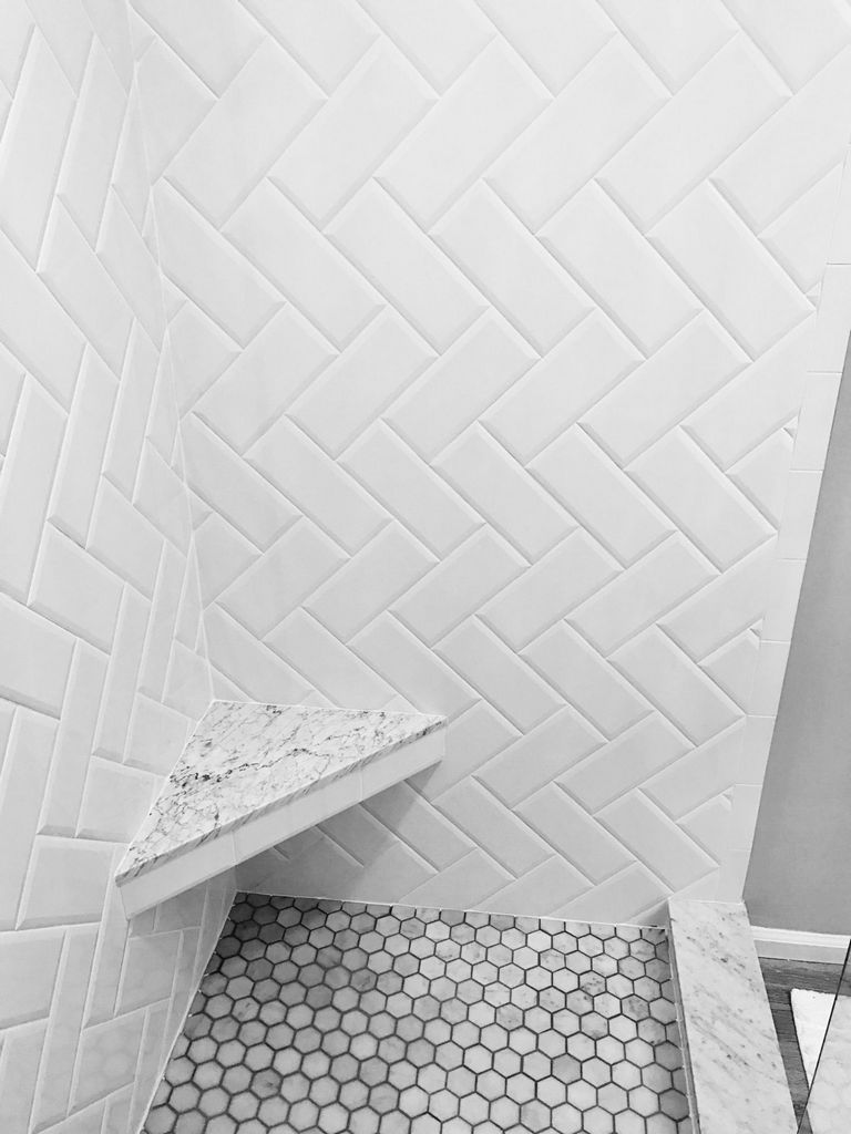 White Subway Tile Herringbone