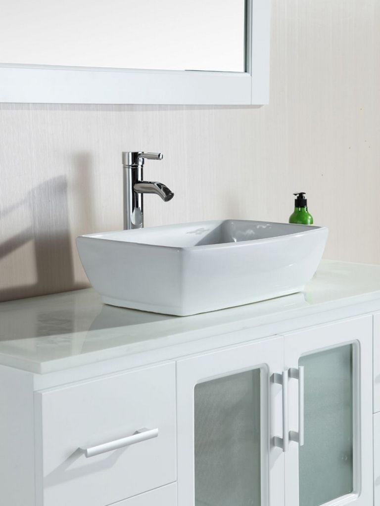 White Vessel Sink Vanity